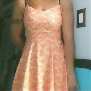Orange/white mini dress